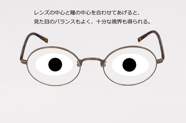 (写真3)レンズの中心と瞳の中心を合ったメガネなら、見た目のバランスもよく、十分な視界も得られる。