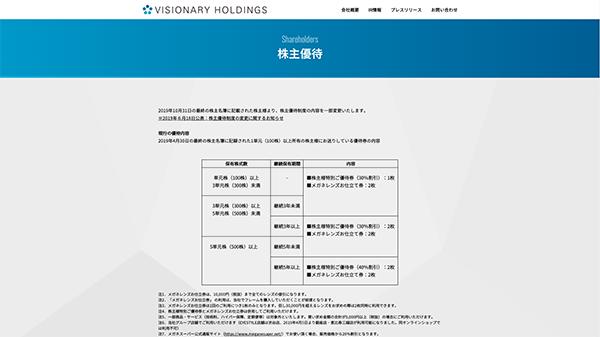 「株主優待 | ビジョナリーホールディングス」(スクリーンショット)