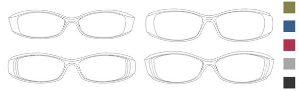 JINS(ジンズ) Air frame(エア・フレーム)第4弾 「メンズ トレンド スポーツ」。価格・7,990円。(左上)TR-11S-031。(右上)TR-11S-032。(左下)TR-11S-033。(右下)TR-11S-034。カラー:カーキ、ネイビー、レッド、グレー、ブラック。image by JINS