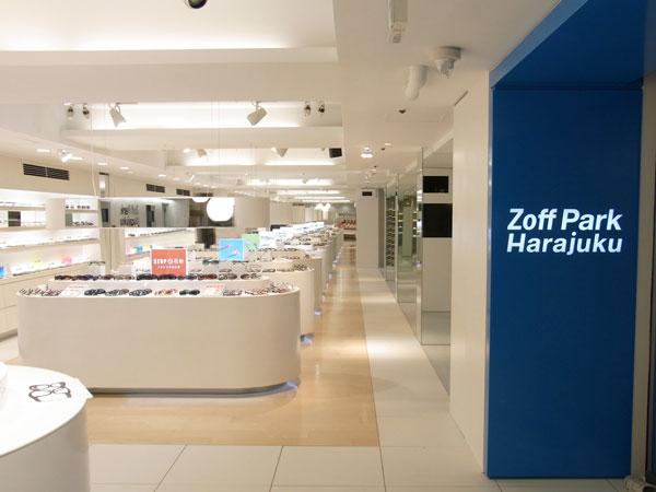 Zoff Park Harajuku(ゾフ・パーク原宿)の店内。広さを生かしたゆったりとした空間となっている。image by インターメスティック。