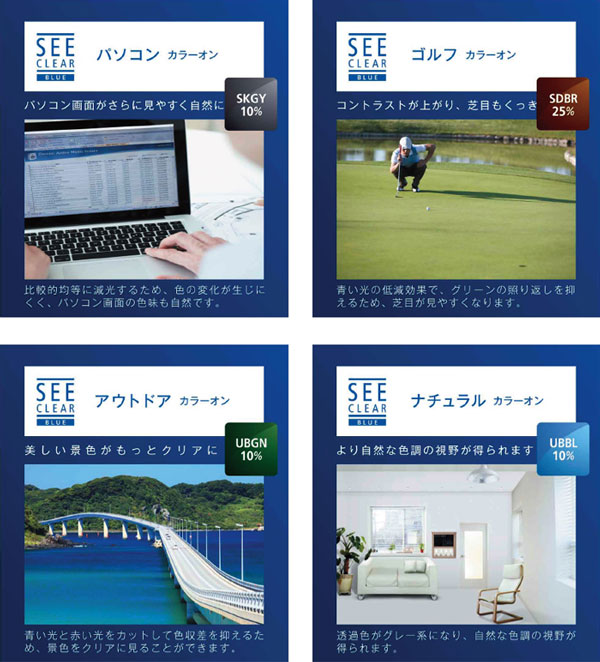 (写真5)「ニコン シークリア ブルー アクティブカラーオン シリーズ」。パソコン向けには画面の色味が自然に見える薄いグレー、ゴルフ向けにはコントラストが上がり、芝目が見やすくなるブラウン、アウトドア用には景色がクリアに見える薄いグリーンなどがラインアップ。