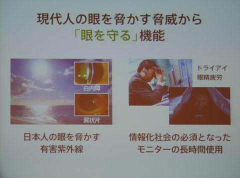 (写真8)紫外線やパソコン、スマートフォンなど、現代人の眼を脅かす脅威から「眼を守る」機能をプラスしていく。