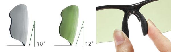 【写真4】(左)レンズの傾斜角は一般のサングラスよりも2°深い。(右)鼻あては自分で調節できる。image by JINS