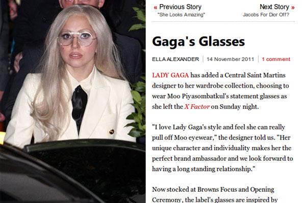 (写真1)Lady Gaga Wears Moo Sunglasses (Vogue.com UK)(スクリーンショット)
