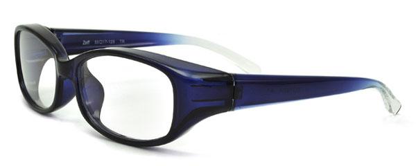 (写真4)Zoff(ゾフ) 「花粉プロテクター」 ZE21G01 カラー:A-1(ブルー)サイドから見たところ。価格:3,150円。image by インターメスティック