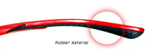 (写真1)V SPORT(ブイ スポルト)の耳にかかる部分には、滑りにくいラバー素材が使われている。