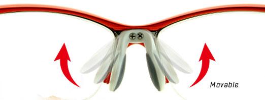 (写真2)V SPORT(ブイ スポルト)の鼻パッドは、掛けるひとの鼻の形にあわせることができる可動式。
