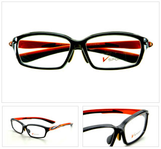 (写真4)V SPORT(ブイ スポルト) TYPE2 カラー:ブラック×(テンプル)オレンジ、ネイビー×(テンプル)シルバー、レッド×(テンプル)レッド、ホワイト×(テンプル)レッド。