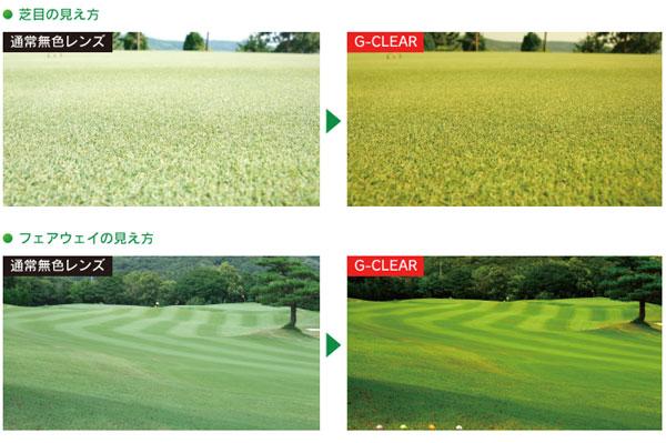 通常のレンズ(カラーなし)と G-CLEAR との見え方の違い。G-CLEAR のほうが芝目やグリーンの起伏などがよく見えることがわかる。