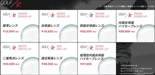 (写真5)ゴルフ専用レンズの度付きタイプは選べる7種類。