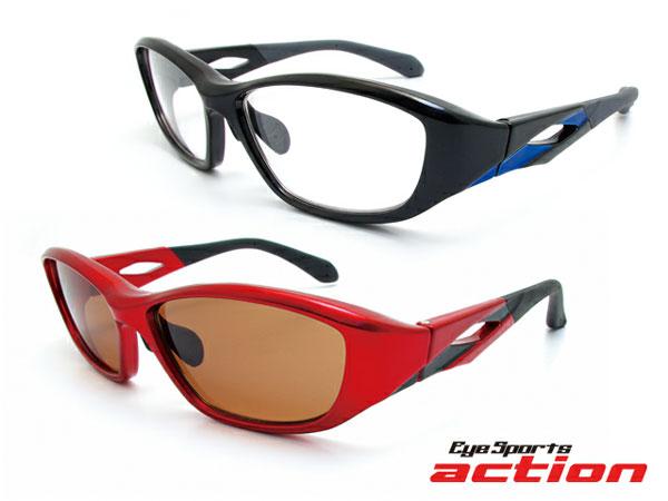 (写真1)Eye Sports action(アイスポーツアクション)A-001。(上)カラー:ブラック/ブルー(レンズ:クリア)。(下)カラー:レッド/ ブラック(レンズ:ブラウン)。
