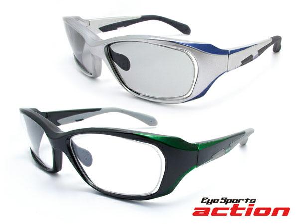 (写真4)Eye Sports action(アイスポーツアクション)A-002。 (上)カラー:シルバー/ネイビー(レンズ:ライトスモーク)。(下)カラー:不明。