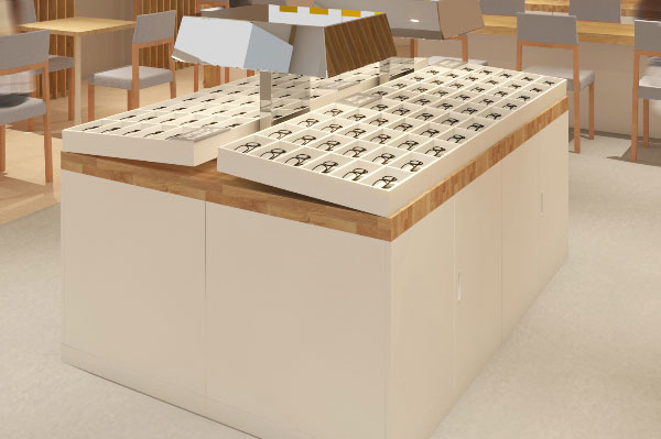 (写真2)メガネスーパーのリニューアルで採用されたグリッド型什器。image by メガネスーパー