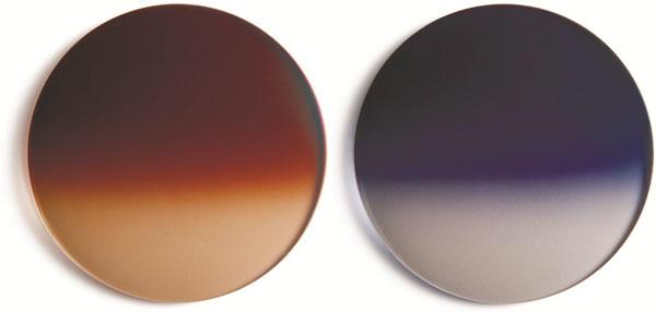 (写真6)偏光レンズ Kodak PolarMax6160 (左)サドルブラウンハーフ、(右)アイアンブルーハーフ。image by Kodak lens