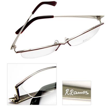 (写真4)R.Ramos(ラモス)TYPE2(RR-02)価格:9,800円(屈折率:1.50 球面レンズ付き)。テンプル(つる)の内側にはラモス氏直筆のサインがプリントされている。