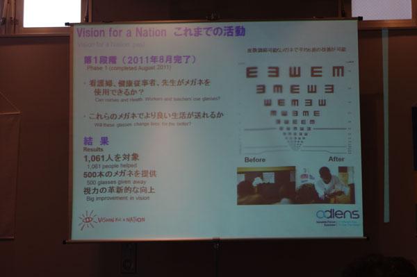 (写真8)Vision for a Nation(ビジョン・フォー・ア・ネーション)を通じ、2011年8月までに1,061人を対象に500本のメガネが提供された。
