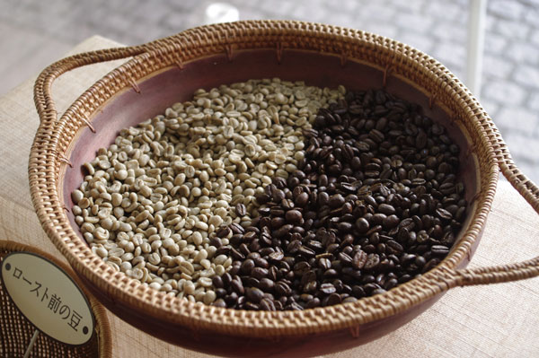 (写真17)ルワンダコーヒー「ルワンダ・ムニョンゲ」。向かって左が「ロースト前」、右が「ロースト後」。「ロースト前」の豆はオリーブのような色をしているのも、「ルワンダ・ムニョンゲ」の特徴なのだという。
