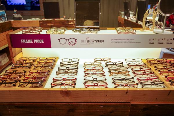 (写真1)ALO(アロ)のメガネフレームは29,000ウォン(約1,976円)からとリーズナブル。