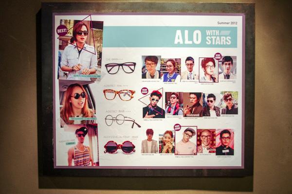 (写真21)ALO(アロ)明洞中央路店の店内には、チャン・グンソクさんをはじめ韓流スターが愛用する ALO(アロ)のメガネ・サングラスも紹介されている。