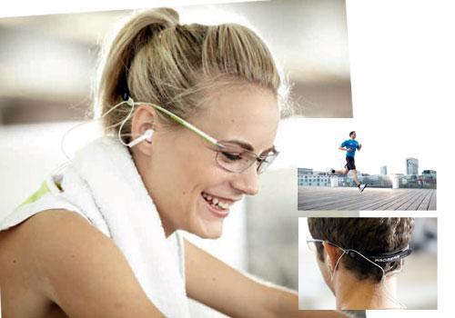 (写真4)眼鏡 [プロギア オプティカル]。イヤホンを取り付けられるケーブルホルダー付。