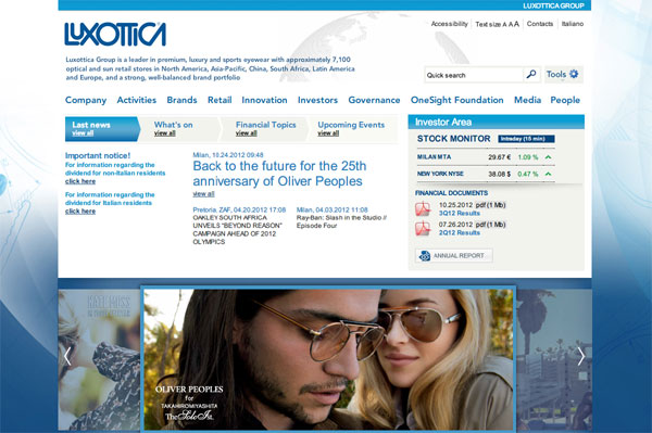 「Luxottica Group」(スクリーンショット)