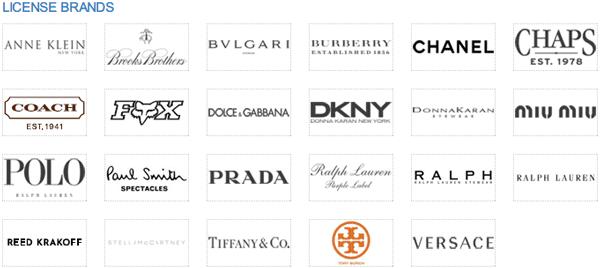 「License Brands」(スクリーンショット)  Luxottica(ルックスオティカ)は数多くの有名ブランドのライセンスを持っている