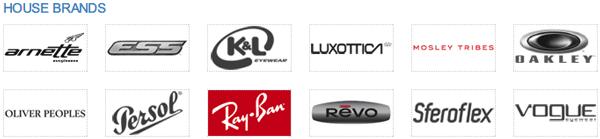 「House Brands」(スクリーンショット)Luxottica(ルックスオティカ)は人気アイウェアブランドを多く傘下に持つ。