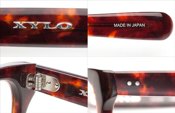 (写真2)XYLO(ザイロ)は細部にわたるこだわりが魅力。(左上)XYLO(ザイロ)のロゴ。(右上)「MADE IN JAPAN」の刻印。(左下)テンプル(つる)をつなぐ蝶番には、5枚蝶番を使用。(右下)テンプル(つる)根元部分の「カシメ鋲」もポイント。image by メガネトップ