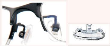(写真9)i-ATHLETE(アイ・アスリート)には、エストラマー製の鼻パッド(鼻あて)が使われている。