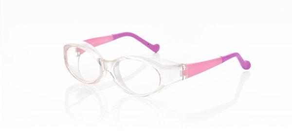 ワラビー601子供用 カラー:クリアピンク/ピンクパープル。 価格:5,800円(度付きレンズ込み、2013年3月末までの限定価格)。