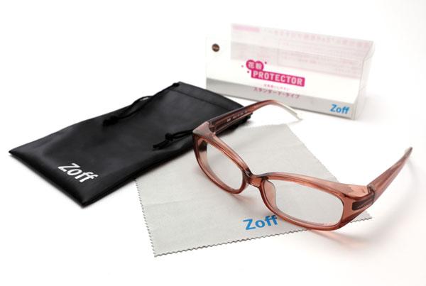 (写真1)Zoff(ゾフ)「花粉プロテクター」は、本体とケース、メガネ拭きがセットになったパッケージ商品として販売される。image by インターメスティック【クリックして拡大】