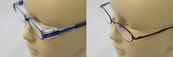 (写真左)「花粉防御用眼鏡の装着例」(写真右)「通常の子ども用眼鏡の装着例」※「写真の商品は事故品と直接関係ありません。」