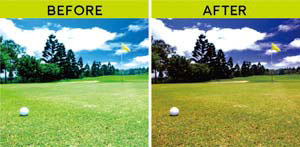 (左)通常の視界。(右)ゴルフハイコントラストレンズを通した視界。image by JINS