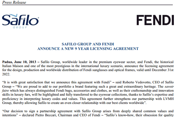 Safilo Group and Fendi announce a new 9 year licensing agreement