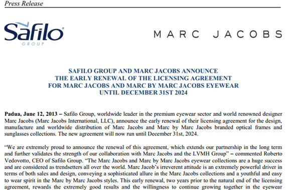 Safilo Group and Marc Jacobs announce the early renewal of the licensing agreement for Marc Jacobs and Marc by Marc Jacobs Eyewear until December 31st 2024