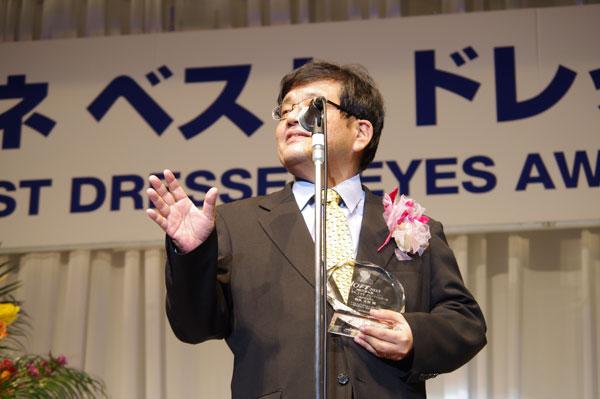 森永卓郎は、受賞のよろこびや「メガネ萌え」について語った。 掛けているメガネは、DUN(ドゥアン)DUN-2064。 【クリックして拡大】