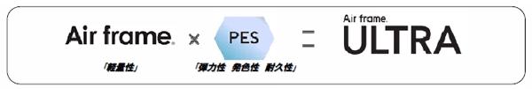 Air frame(エア・フレーム)の「軽量性」に 新素材 PES(ペス)の「弾力性 発色性 耐久性」を加えたのが、  Air frame ULTRA(エア・フレーム ウルトラ) image by ジェイアイエヌ