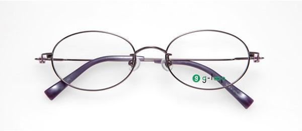 眼鏡市場 g-loop(ジーループ) GLP-107 カラー:LPU(ライトパープル、写真)、PK(ピンク)、LBR(ライトブラウン)、GR(グレー) 重さ:6.5g サイズ:50□18-140 価格:15,750円(レンズ込み)