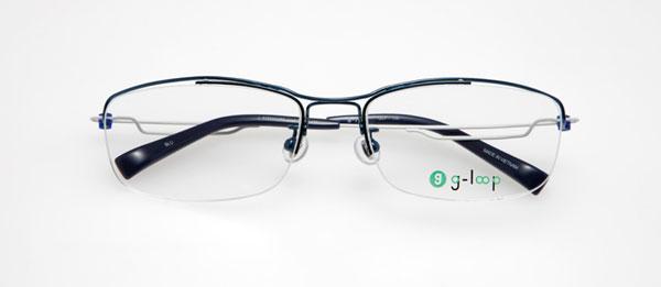 眼鏡市場 g-loop(ジーループ) GLP-108 カラー:BLU(ブルー、写真)、BK(ブラック)、BR(ブラウン)、GR(グレー) 重さ:5.6g サイズ:54□17-135 価格:15,750円(レンズ込み)