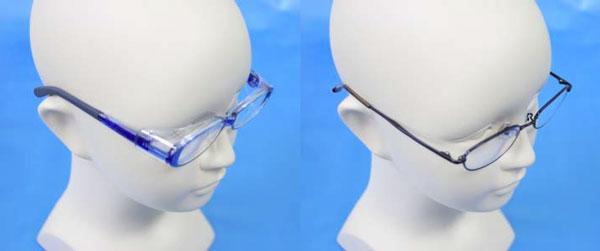 (写真左)「花粉防御用眼鏡の装着例」 (写真右)「通常の子ども用眼鏡の装着例」 ※「写真の商品は危害事例と直接関係ありません。」