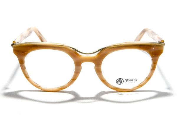 河和田(かわだ) 「夕焼け-06」カラー:5 ツーブリッジ+キーホールブリッジに グッとくるメガネ好きは多いはず。 【クリックして拡大】
