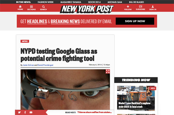 NYPD testing Google Glass as potential crime fighting tool | New York Post