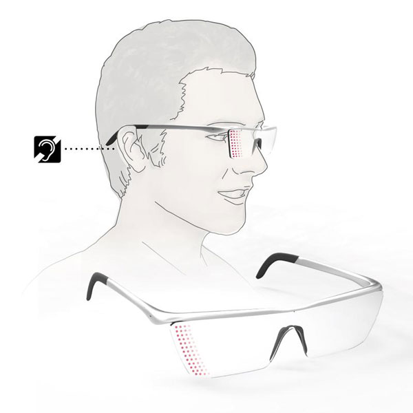 「Alarm Glasses For Deaf」の着用イメージと全体図。