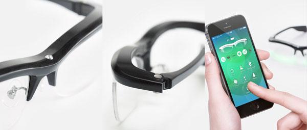 (左)ブリッジには照度センサーを搭載。 (中)通常のメガネ同様、テンプル(つる)を折りたためる。 (右)専用アプリでカスタマイズ可能。