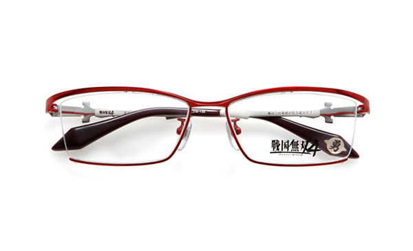眼鏡市場 × 戦国無双4 真田幸村モデル 価格:15,000円(レンズ代込み、税抜) 「魂はこの幸村が引き受けた!」というセリフが、 テンプル(つる)内側に見える。