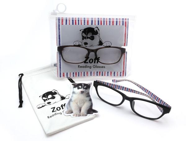 「Zoff リーディング・グラス」は、「度付きリーディンググラス」「メガネ拭き素材のメガネケース」「しおり型メッセージカード」がセットになったパッケージ商品。 image by インターメスティック 【クリックして拡大】