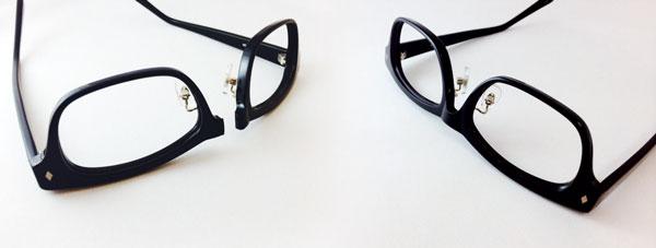 (右)ブリッジが折れた修理前のメガネフレーム。 (左)修理後のメガネフレーム。 修理参考価格:5,300円(税別) image by エヌ・ティ・コーポレーション