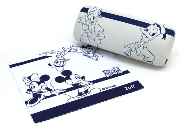 「Disney Collection created by Zoff (ディズニーコレクション クリエイティッド バイ ゾフ)」のオリジナルケース&メガネ拭き。ケースの裏側には「ドナルド&デイジー」。