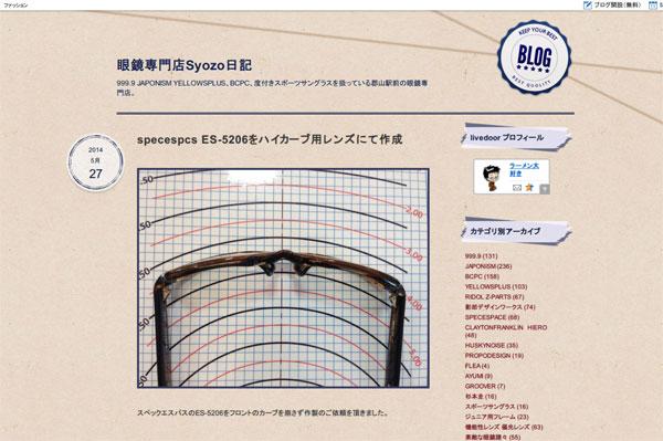 specespcs ES-5206をハイカーブ用レンズにて作成 : 眼鏡専門店Syozo日記
