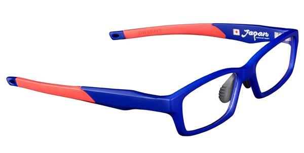 OWNDAYS(オンデーズ)「SAMURAI BLUE model(サムライ ブルー モデル)」第2弾。 まずはブルーと「結束の一本線」レッドの組み合わせ。 価格:8,980円(税別) 【クリックして拡大】